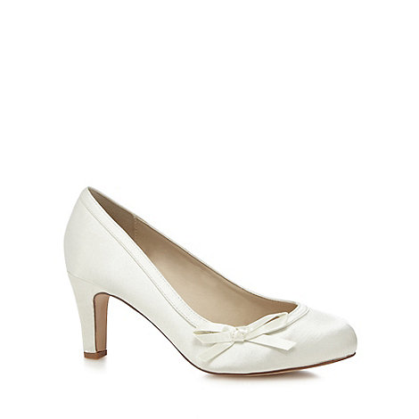 Debut - Ivory satin high heel wide fit court shoes