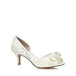 Debut - Ivory lace bow appliqué wide fit court shoes
