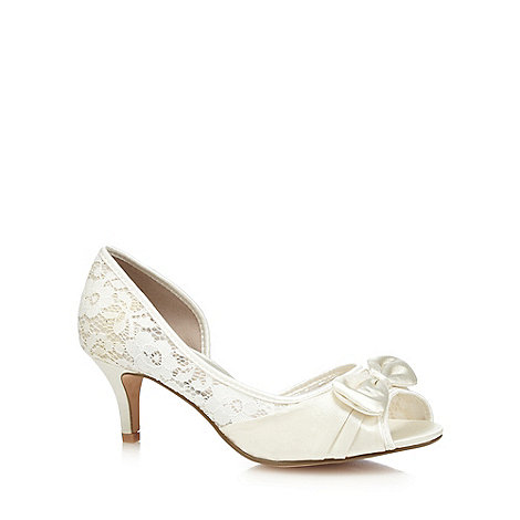 Debut - Ivory lace mid heel wide fit peep toe shoes