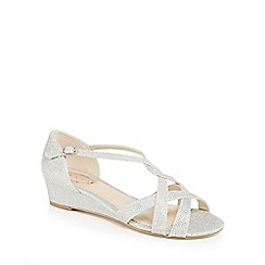 Debut - Silver 'Debra' mid heel wide fit sandals