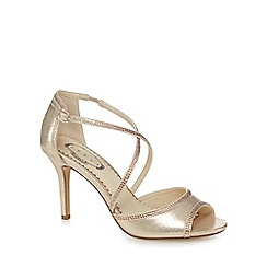 Debut - Gold diamante high heel peep toe sandals