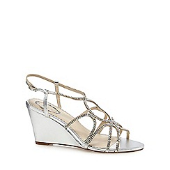 Debut - Silver diamante 'Darlene' high wedge heel ankle strap sandals