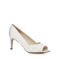 Debut - White satin mid heel peep toe shoes