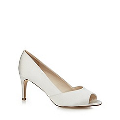 Debut - Ivory satin mid heel peep toe shoes
