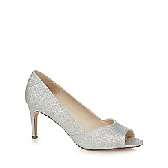 Debut - Silver glitter mid heel peep toe shoes