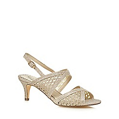 Debut - Gold 'Deia' mid kitten heel slingback sandals