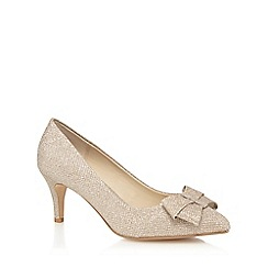 Debut - Gold 'Donna' bow textured court shoes