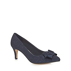 Debut - Navy 'Donna' bow textured court shoes