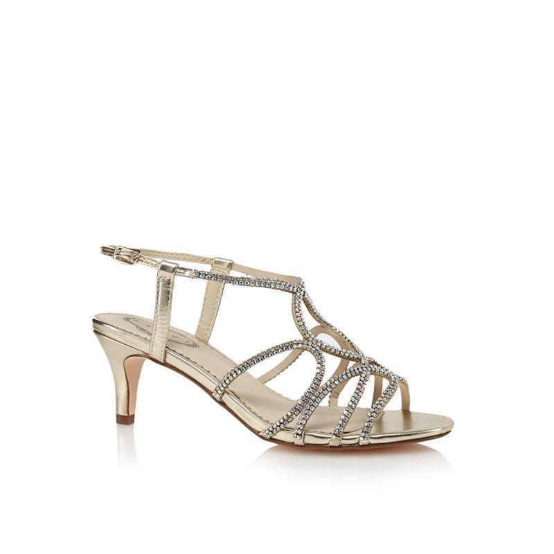 Debut Gold diamante mid kitten heel sandals