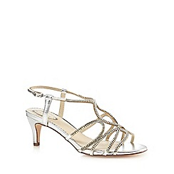 Debut - Silver diamante mid kitten heel T-bar sandals