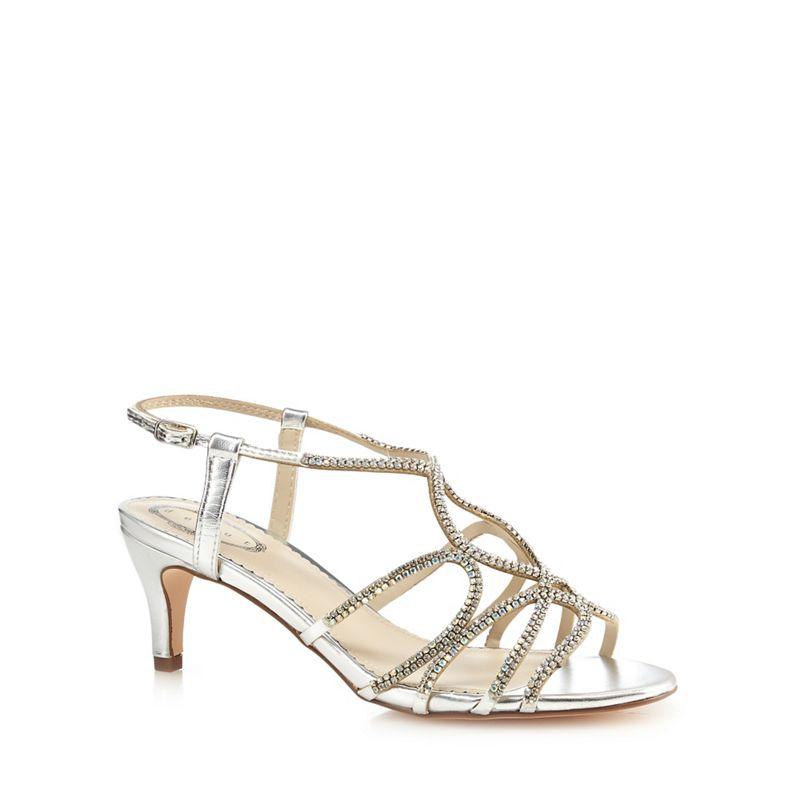 Debut Silver diamante mid kitten heel sandals