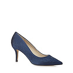 Debut - Blue diamante mid heel court shoes