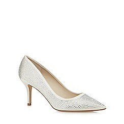 Debut - Ivory diamante mid heel court shoes