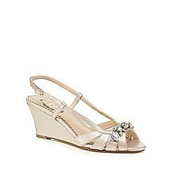 Debut - Gold 'Dandy' high wedge heel slingbacks