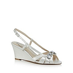 Debut - Silver 'Dandy' high wedge heel slingback sandals