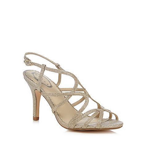 Debut - Gold cross-over strap wide fit high sandals