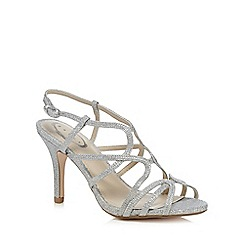 Debut - Silver diamante high heel wide fit ankle strap sandals