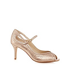Debut - Gold glitter stiletto heel peep toe shoes