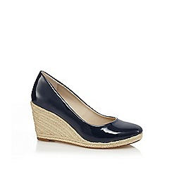 Principles by Ben de Lisi - Blue patent high wedge heel espadrilles