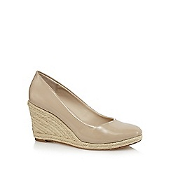 Principles by Ben de Lisi - Cream patent high wedge heel espadrilles