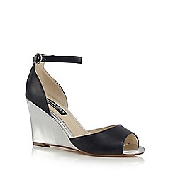 Principles by Ben de Lisi - Navy 'Bambi' high wedge heel ankle strap sandals