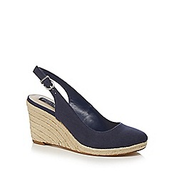 Principles by Ben de Lisi - Navy 'Bessie' high wedge heel slingback sandals