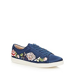 Nine by Savannah Miller - Navy embroidered lace up trainers
