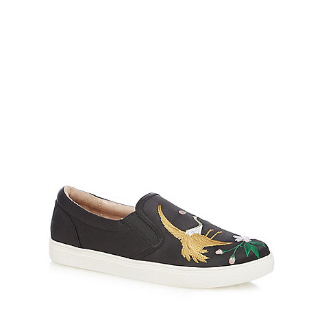 Nine by Savannah Miller - Black satin slip on trainers