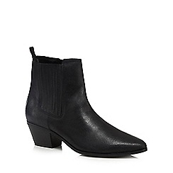 Nine by Savannah Miller - Black leather 'Shona' mid block heel ankle boots