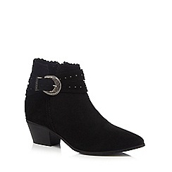 Nine by Savannah Miller - Black suede mock buckle studded ankle boots