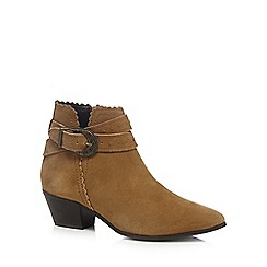 Nine by Savannah Miller - Tan suede mock buckle studded ankle boots