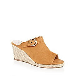 Nine by Savannah Miller - Tan 'Swing' high wedge heel mules