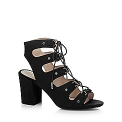 Nine by Savannah Miller - Black 'Sheeran Ghilie' high block heel gladiator sandals
