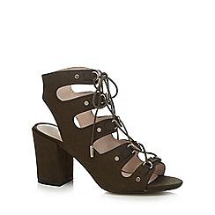 Nine by Savannah Miller - Khaki 'Sheeran Ghilie' high block heel gladiator sandals