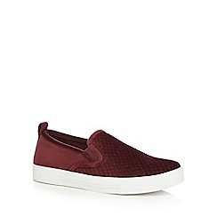 Call It Spring - Dark red suedette 'Fiamma' slip-on trainers