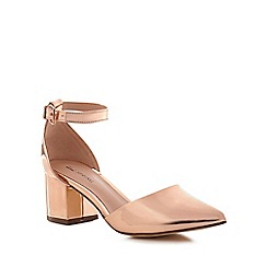Call It Spring - Rose gold 'Trivio' mid block heel ankle strap sandals