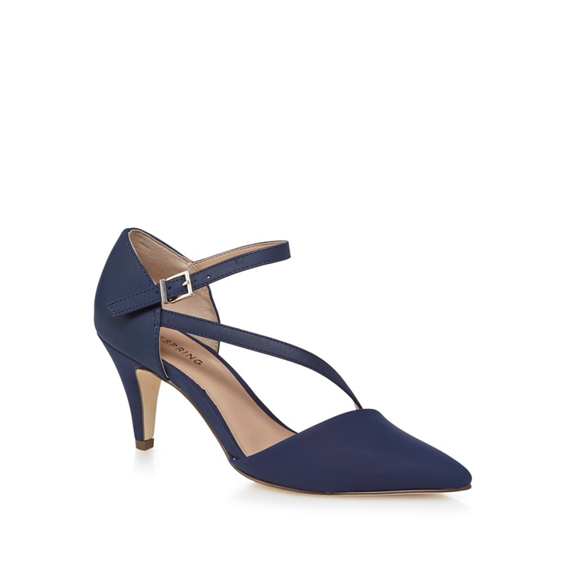 bd94b94854e Call It Spring - Navy  Migiana  Mid Kitten Heel Ankle Strap Sandals ...