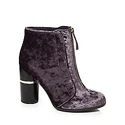 Call It Spring - Dark purple velvet 'Kalivas' high block heel ankle boots