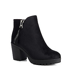 Call It Spring - Black velvet high block heel ankle boots