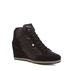 Geox - Black leather 'Illusion' high wedge heel trainers