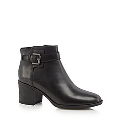 Geox - Black leather 'Glynna' mid block heel ankle boots