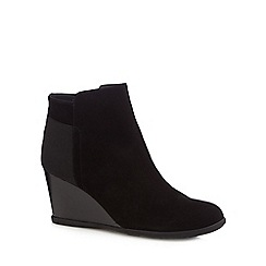Geox - Black suede 'Inspiration' high wedge heel ankle boots