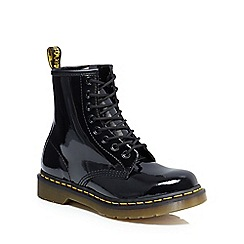 Dr Martens - Black leather patent lace up boots