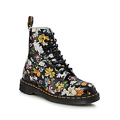 Dr Martens - Multi-coloured leather 'Pascal' floral lace up boots