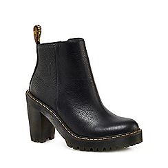 Dr Martens - Black leather 'Magdalena' high block heel ankle boots