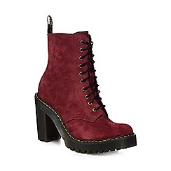 Dr Martens - Red suede 'Kendra' high block heel ankle boots