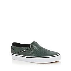 Vans - Dark green 'Asher' faux croc textured slip-on trainers