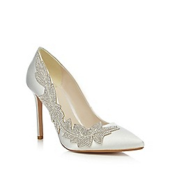 No. 1 Jenny Packham - Ivory satin 'Plum' high stiletto heel pointed shoes
