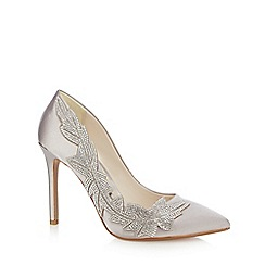 No. 1 Jenny Packham - Silver satin 'Plum' high stiletto heel pointed shoes