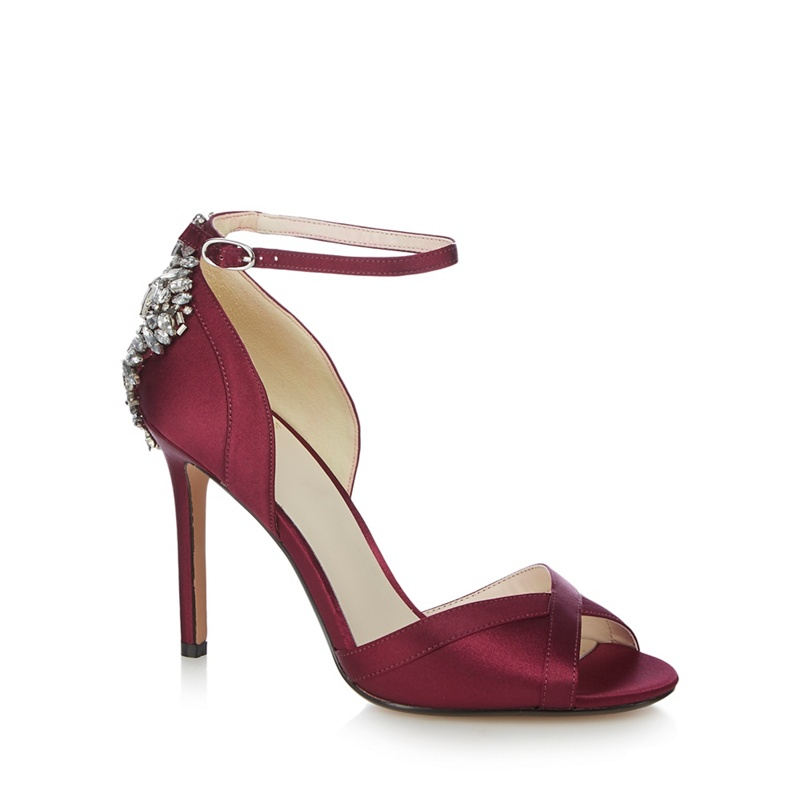 61058c1ab47 No. 1 Jenny Packham Burgundy  Picnic  high stiletto heel ankle strap sandals